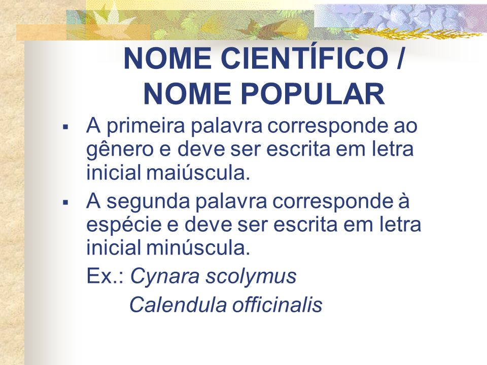 NOME CIENTÍFICO / NOME POPULAR A primeira palavra corresponde ao gênero e deve ser escrita em letra inicial maiúscula. A segunda palavra corresponde à