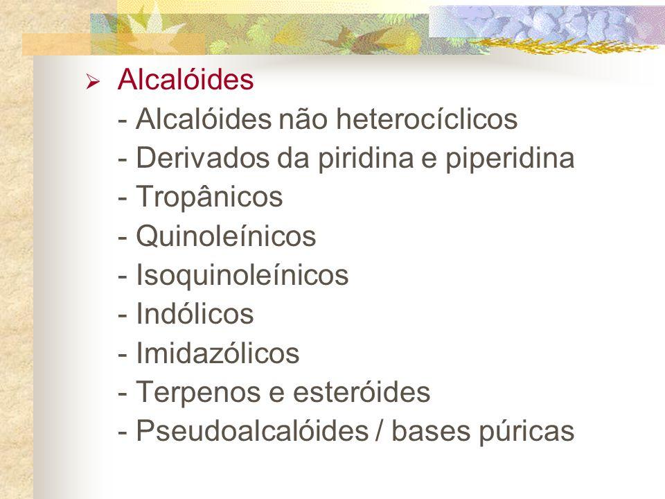 Alcalóides - Alcalóides não heterocíclicos - Derivados da piridina e piperidina - Tropânicos - Quinoleínicos - Isoquinoleínicos - Indólicos - Imidazólicos - Terpenos e esteróides - Pseudoalcalóides / bases púricas