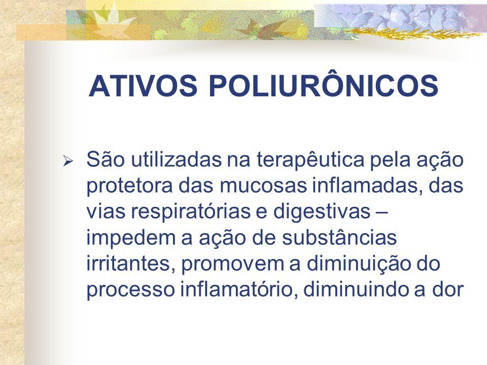 ATIVOS POLIURÔNICOS São utilizadas na terapêutica pela ação protetora das mucosas inflamadas, das vias respiratórias e digestivas – impedem a ação de substâncias irritantes, promovem a diminuição do processo inflamatório, diminuindo a dor