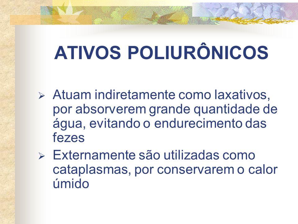 ATIVOS POLIURÔNICOS Atuam indiretamente como laxativos, por absorverem grande quantidade de água, evitando o endurecimento das fezes Externamente são utilizadas como cataplasmas, por conservarem o calor úmido