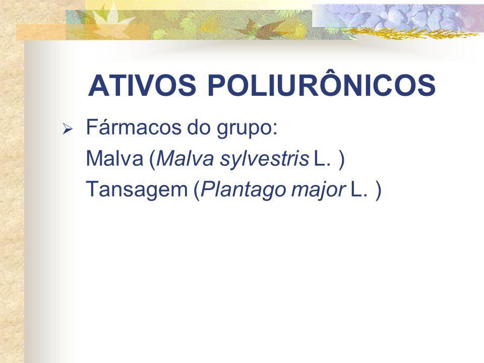 ATIVOS POLIURÔNICOS Fármacos do grupo: Malva (Malva sylvestris L. ) Tansagem (Plantago major L. )