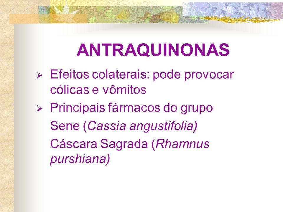 ANTRAQUINONAS Efeitos colaterais: pode provocar cólicas e vômitos Principais fármacos do grupo Sene (Cassia angustifolia) Cáscara Sagrada (Rhamnus pur