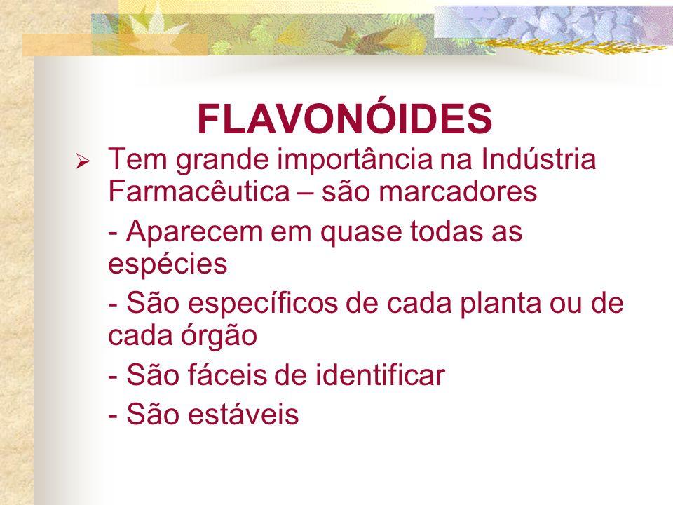 FLAVONÓIDES Tem grande importância na Indústria Farmacêutica – são marcadores - Aparecem em quase todas as espécies - São específicos de cada planta ou de cada órgão - São fáceis de identificar - São estáveis