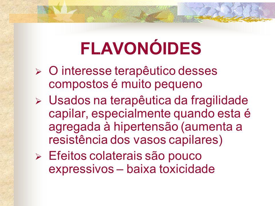 FLAVONÓIDES O interesse terapêutico desses compostos é muito pequeno Usados na terapêutica da fragilidade capilar, especialmente quando esta é agregad