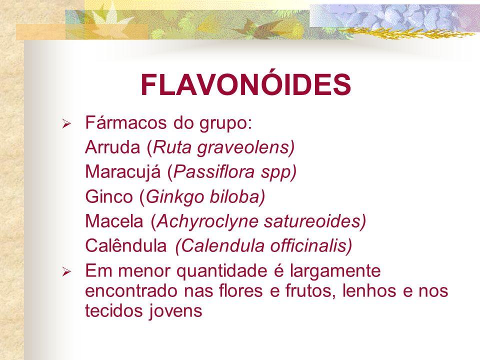FLAVONÓIDES Fármacos do grupo: Arruda (Ruta graveolens) Maracujá (Passiflora spp) Ginco (Ginkgo biloba) Macela (Achyroclyne satureoides) Calêndula (Calendula officinalis) Em menor quantidade é largamente encontrado nas flores e frutos, lenhos e nos tecidos jovens