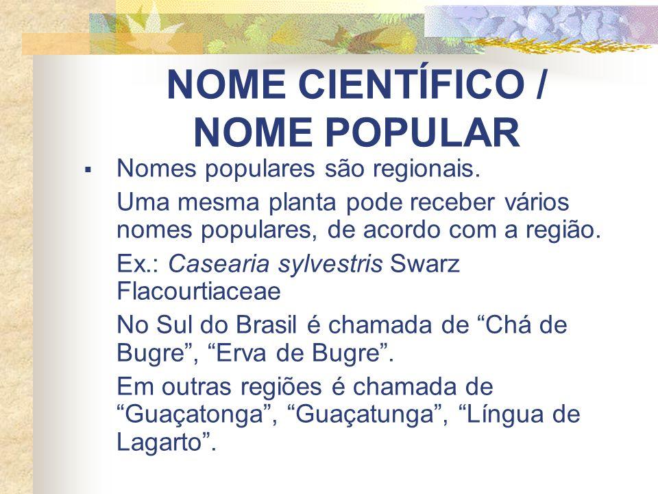 NOME CIENTÍFICO / NOME POPULAR Nomes populares são regionais. Uma mesma planta pode receber vários nomes populares, de acordo com a região. Ex.: Casea