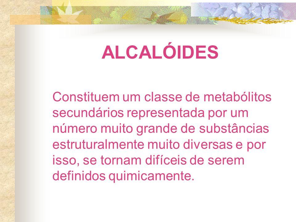 ALCALÓIDES Constituem um classe de metabólitos secundários representada por um número muito grande de substâncias estruturalmente muito diversas e por isso, se tornam difíceis de serem definidos quimicamente.