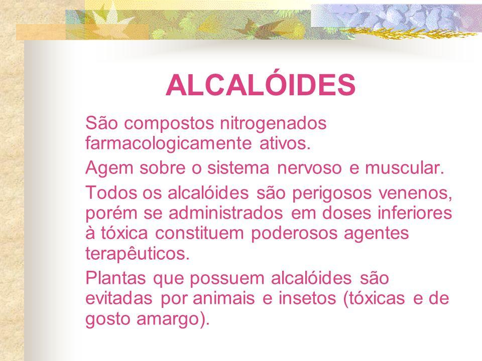 ALCALÓIDES São compostos nitrogenados farmacologicamente ativos. Agem sobre o sistema nervoso e muscular. Todos os alcalóides são perigosos venenos, p