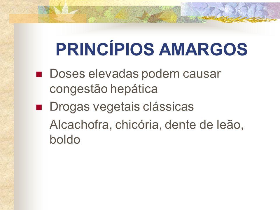 PRINCÍPIOS AMARGOS Doses elevadas podem causar congestão hepática Drogas vegetais clássicas Alcachofra, chicória, dente de leão, boldo