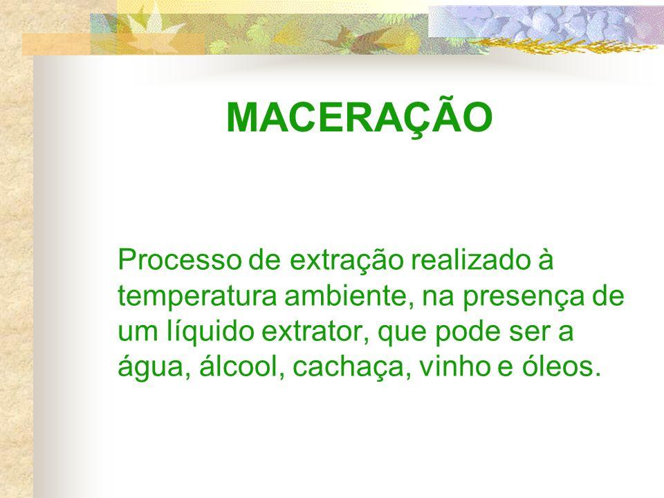 MACERAÇÃO Processo de extração realizado à temperatura ambiente, na presença de um líquido extrator, que pode ser a água, álcool, cachaça, vinho e óleos.