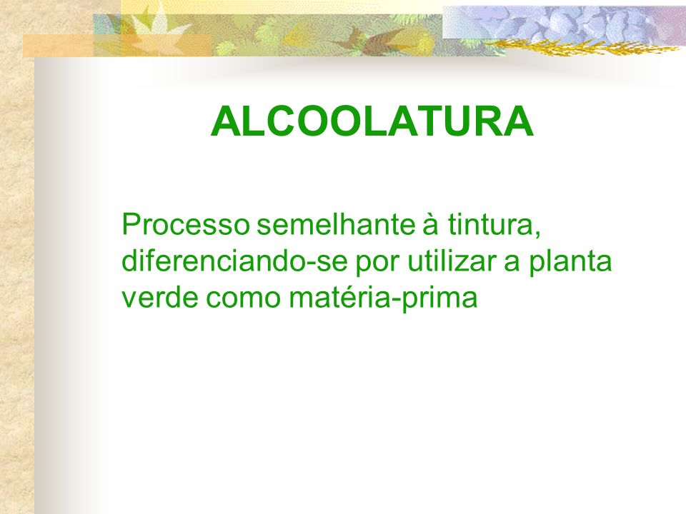 ALCOOLATURA Processo semelhante à tintura, diferenciando-se por utilizar a planta verde como matéria-prima