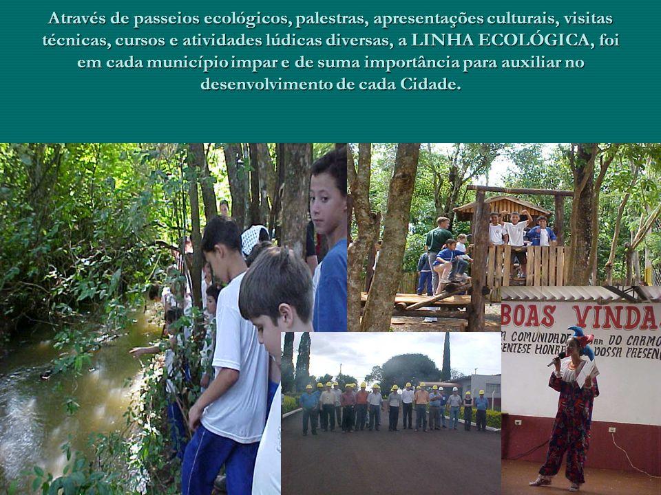 Através de passeios ecológicos, palestras, apresentações culturais, visitas técnicas, cursos e atividades lúdicas diversas, a LINHA ECOLÓGICA, foi em