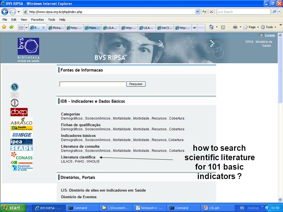 how to search scientific literature for 101 basic indicators