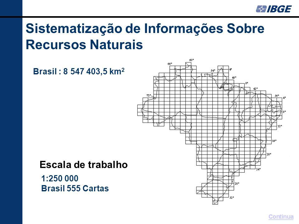 Sistematização de Informações Sobre Recursos Naturais 1:250 000 Brasil 555 Cartas Brasil : 8 547 403,5 km 2 Escala de trabalho