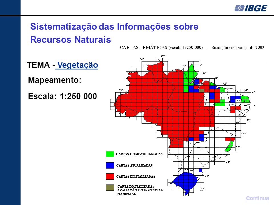 TEMA - Vegetação Vegetação Mapeamento: Escala: 1:250 000 Sistematização das Informações sobre Recursos Naturais