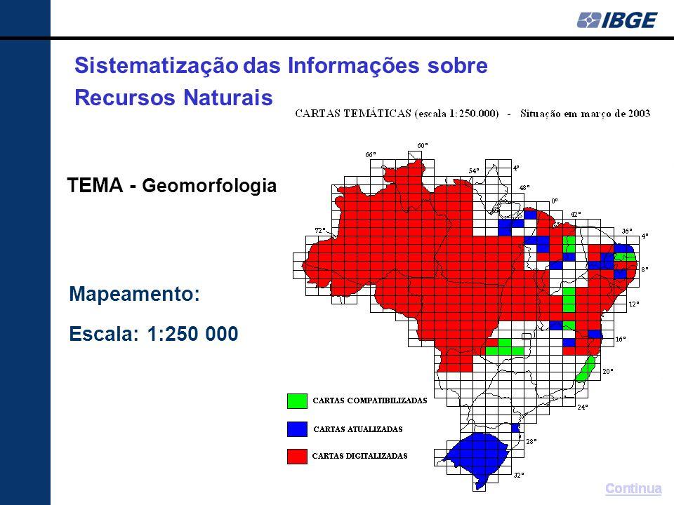 Mapeamento: Escala: 1:250 000 TEMA - Geomorfologia Sistematização das Informações sobre Recursos Naturais