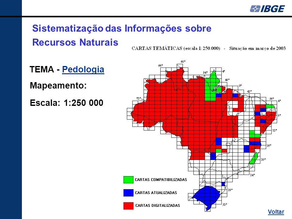 TEMA - PedologiaPedologia Mapeamento: Escala: 1:250 000 Sistematização das Informações sobre Recursos Naturais Voltar