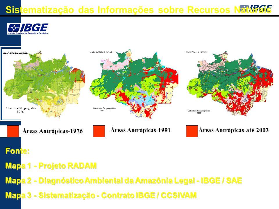 Áreas Antrópicas-1976 Áreas Antrópicas-1976 Áreas Antrópicas-1991 Fonte: Mapa 1 - Projeto RADAM Mapa 2 - Diagnóstico Ambiental da Amazônia Legal - IBG