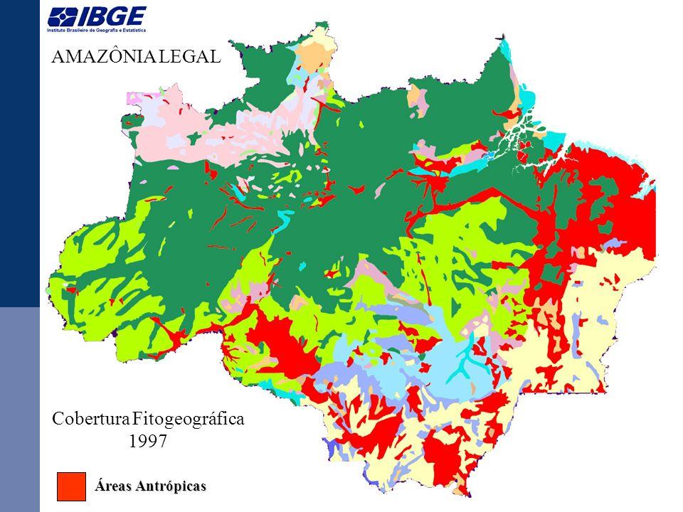AMAZÔNIA LEGAL Cobertura Fitogeográfica 2003 Áreas Antrópicas Áreas Antrópicas
