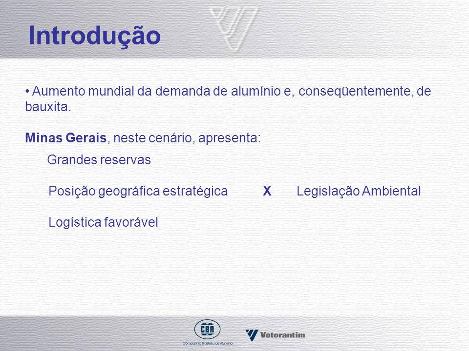 Introdução Aumento mundial da demanda de alumínio e, conseqüentemente, de bauxita. Minas Gerais, neste cenário, apresenta: Grandes reservas Posição ge