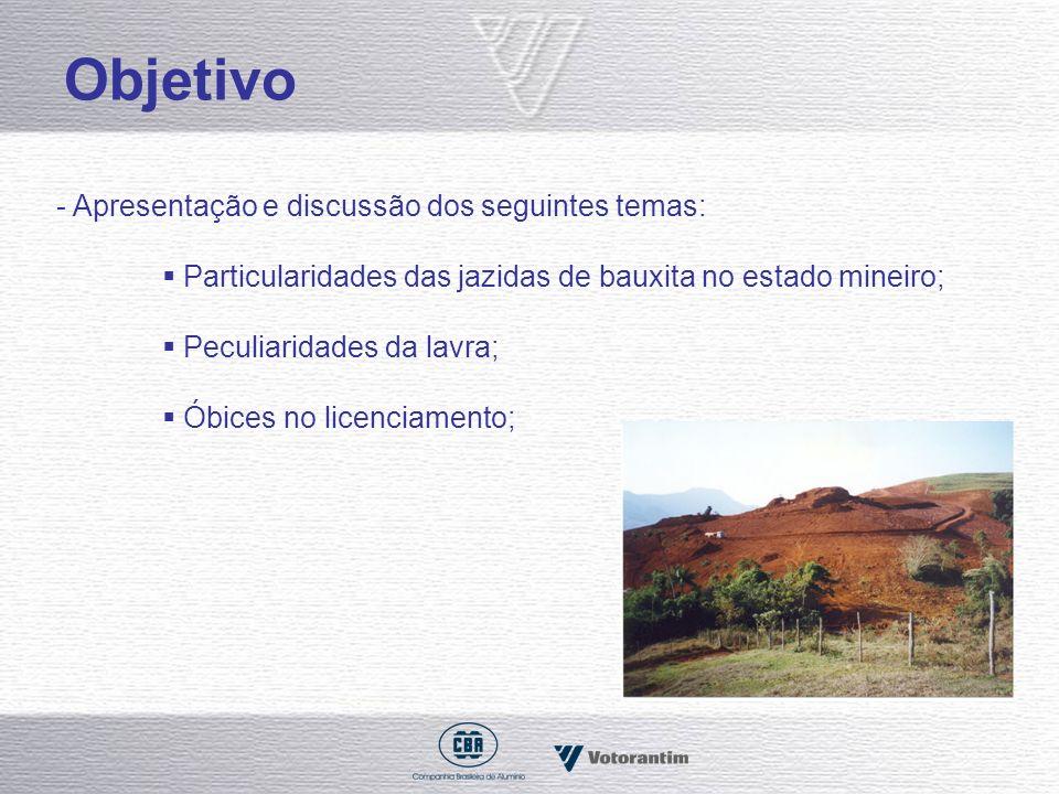 Objetivo - Apresentação e discussão dos seguintes temas: Particularidades das jazidas de bauxita no estado mineiro; Peculiaridades da lavra; Óbices no
