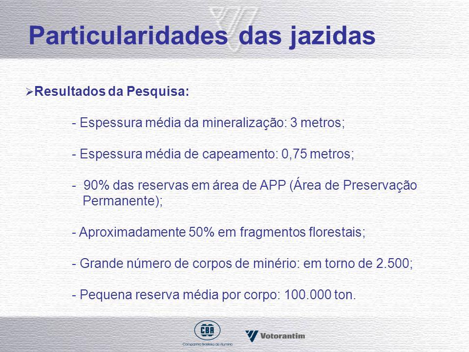 Particularidades das jazidas Resultados da Pesquisa: - Espessura média da mineralização: 3 metros; - Espessura média de capeamento: 0,75 metros; - 90%