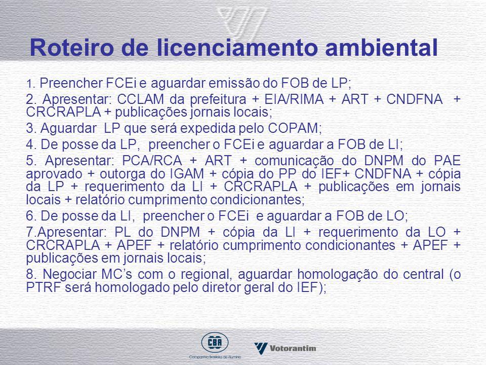 Roteiro de licenciamento ambiental 1. Preencher FCEi e aguardar emissão do FOB de LP; 2. Apresentar: CCLAM da prefeitura + EIA/RIMA + ART + CNDFNA + C