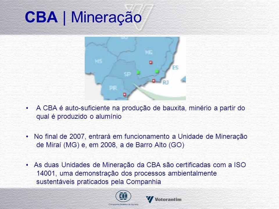 CBA | Mineração A CBA é auto-suficiente na produção de bauxita, minério a partir do qual é produzido o alumínio No final de 2007, entrará em funcionam