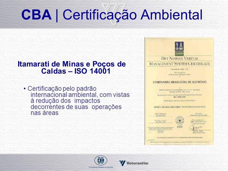 CBA | Certificação Ambiental Itamarati de Minas e Poços de Caldas – ISO 14001 Certificação pelo padrão internacional ambiental, com vistas à redução d