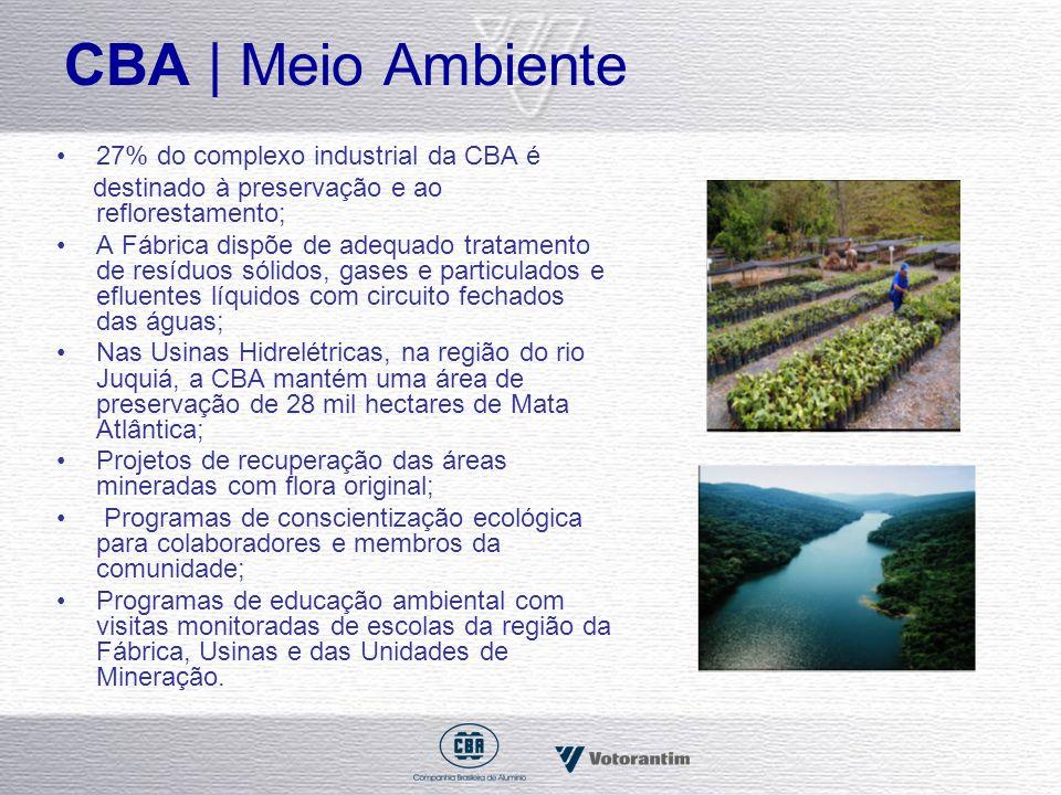 CBA | Meio Ambiente 27% do complexo industrial da CBA é destinado à preservação e ao reflorestamento; A Fábrica dispõe de adequado tratamento de resíd