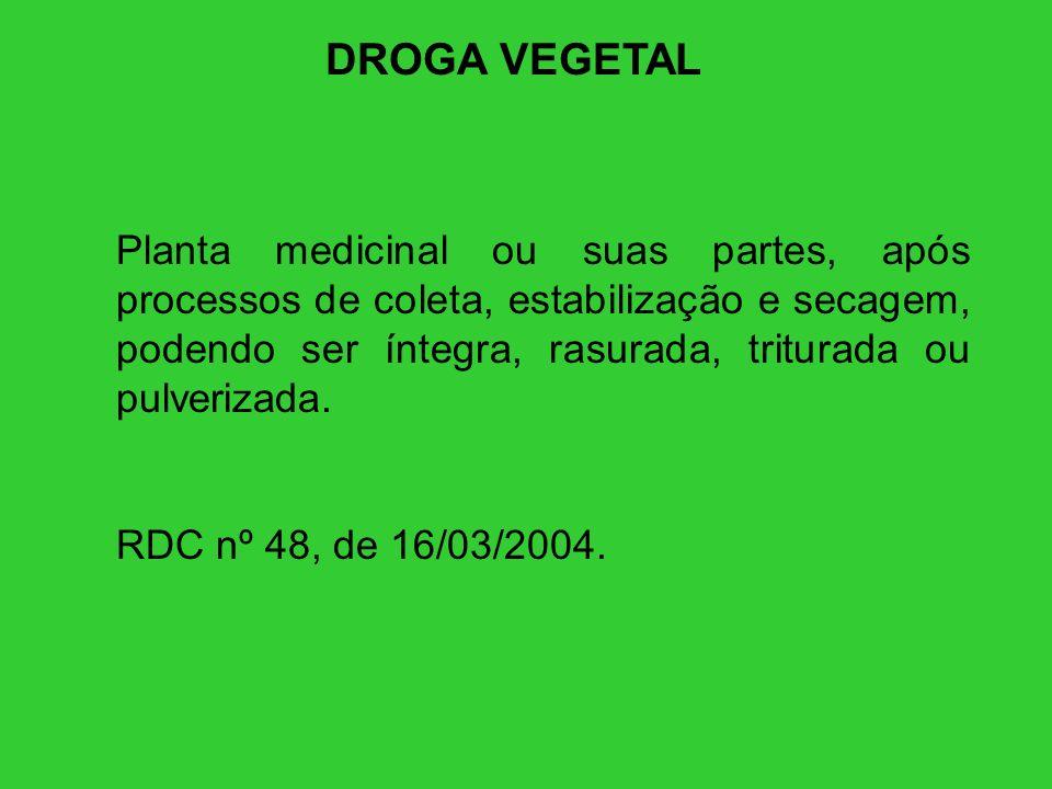 DROGA VEGETAL Planta medicinal ou suas partes, após processos de coleta, estabilização e secagem, podendo ser íntegra, rasurada, triturada ou pulveriz