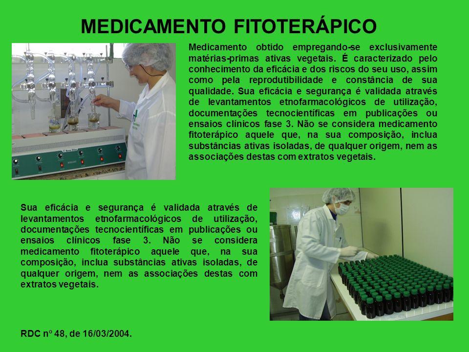 MEDICAMENTO FITOTERÁPICO Medicamento obtido empregando-se exclusivamente matérias-primas ativas vegetais. É caracterizado pelo conhecimento da eficáci
