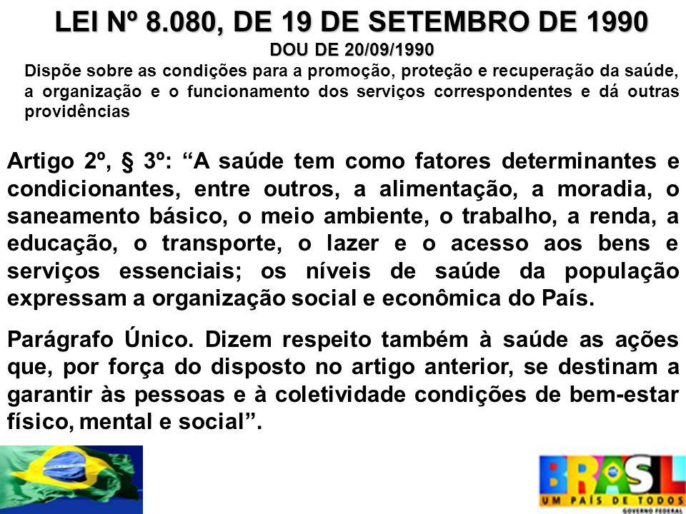 LEI Nº 8.080, DE 19 DE SETEMBRO DE 1990 DOU DE 20/09/1990 Dispõe sobre as condições para a promoção, proteção e recuperação da saúde, a organização e