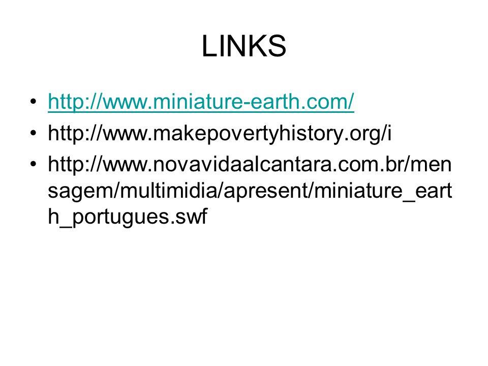 LINKS http://www.miniature-earth.com/ http://www.makepovertyhistory.org/i http://www.novavidaalcantara.com.br/men sagem/multimidia/apresent/miniature_