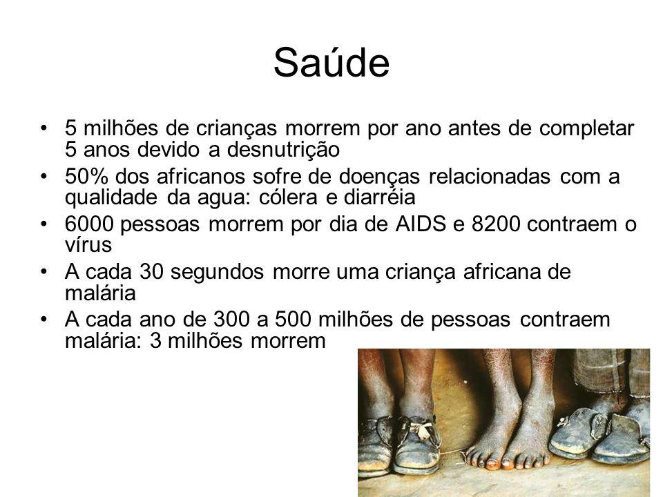 Saúde 5 milhões de crianças morrem por ano antes de completar 5 anos devido a desnutrição 50% dos africanos sofre de doenças relacionadas com a qualid