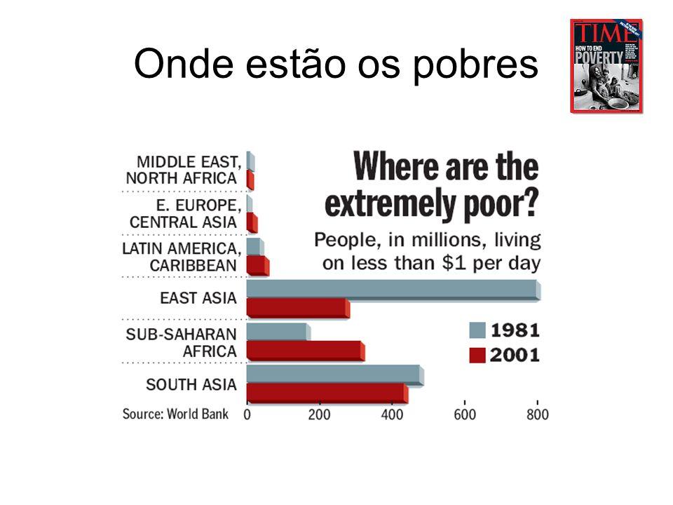 A pobreza no Brasil Pobreza em algumas regiões do país: Nordeste: 57,4% Sudeste: 21,5% Norte, 44,3% Programa das nações unidas para o desenvolvimento 18/11/2005 http://www.pnud.org.br/raca/reportagens/index.php?id01=1608&lay=rac