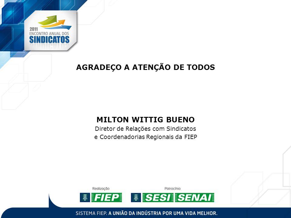 AGRADEÇO A ATENÇÃO DE TODOS MILTON WITTIG BUENO Diretor de Relações com Sindicatos e Coordenadorias Regionais da FIEP