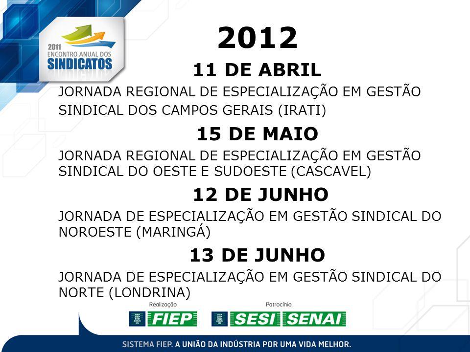 2012 11 DE ABRIL JORNADA REGIONAL DE ESPECIALIZAÇÃO EM GESTÃO SINDICAL DOS CAMPOS GERAIS (IRATI) 15 DE MAIO JORNADA REGIONAL DE ESPECIALIZAÇÃO EM GEST