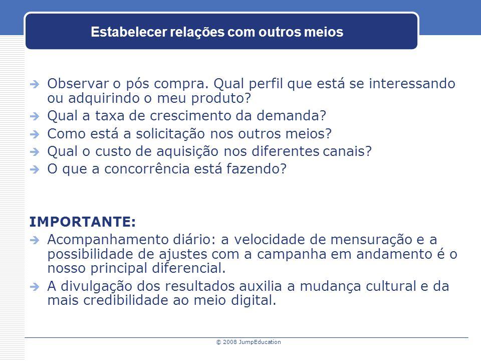 © 2008 JumpEducation Estabelecer relações com outros meios Observar o pós compra.