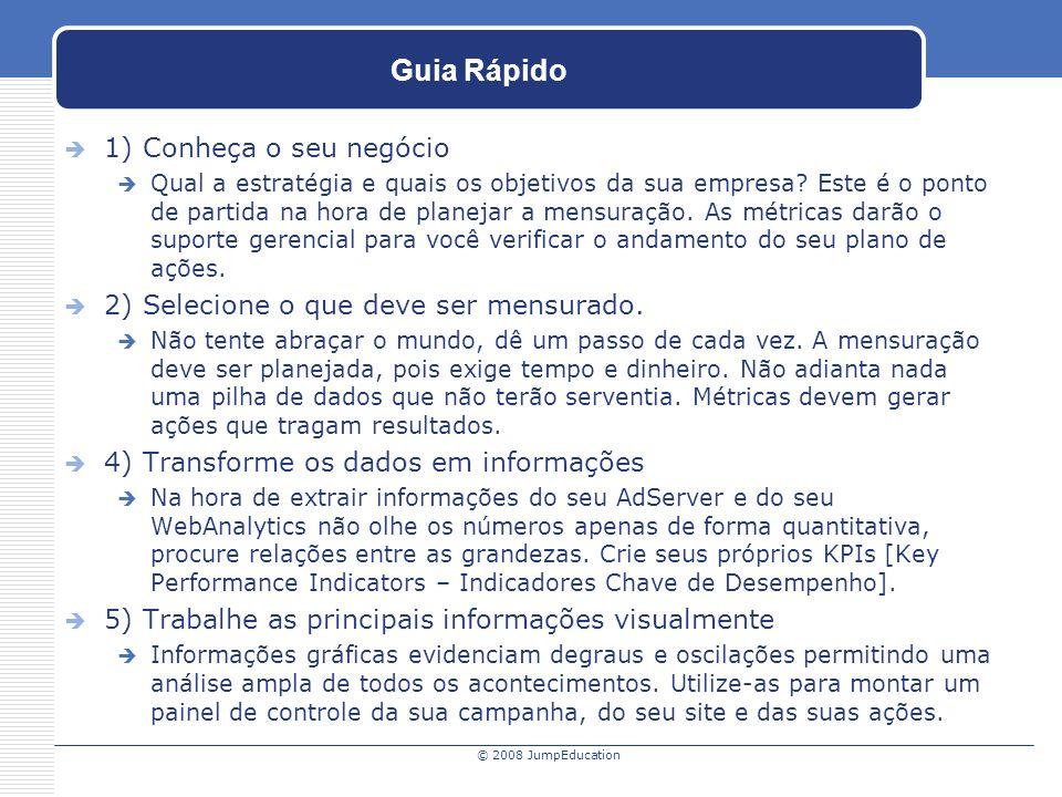 © 2008 JumpEducation Guia Rápido 1) Conheça o seu negócio Qual a estratégia e quais os objetivos da sua empresa.