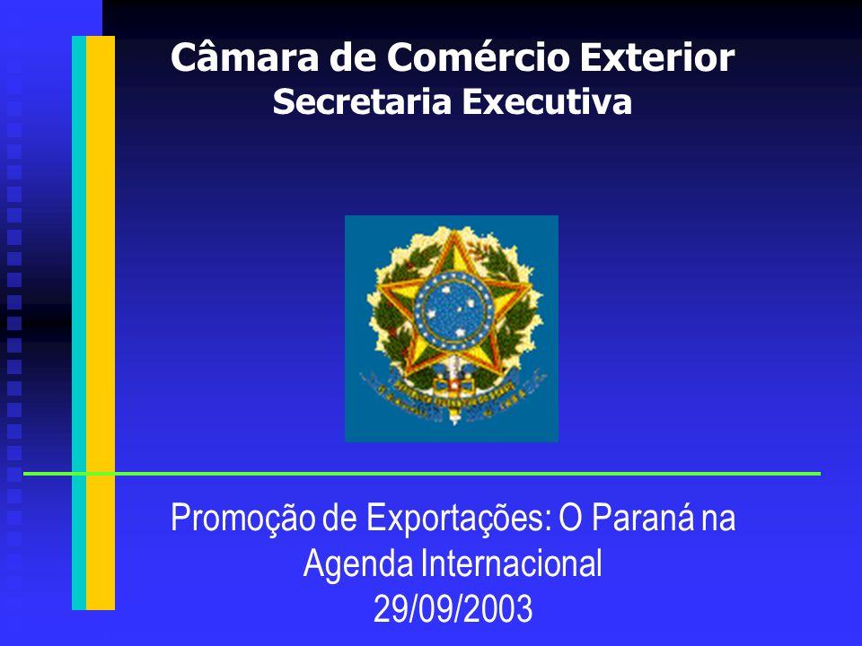 1.A condição de estabilidade econômica e o comércio exterior do Brasil 2.A reunião da OMC em Cancun 3.ALCA/UE – MERCOSUL 4.Negociações bilaterais 5.Alavancas da exportação 6.Plano 2003-2007 Presidência da República Câmara de Comércio Exterior