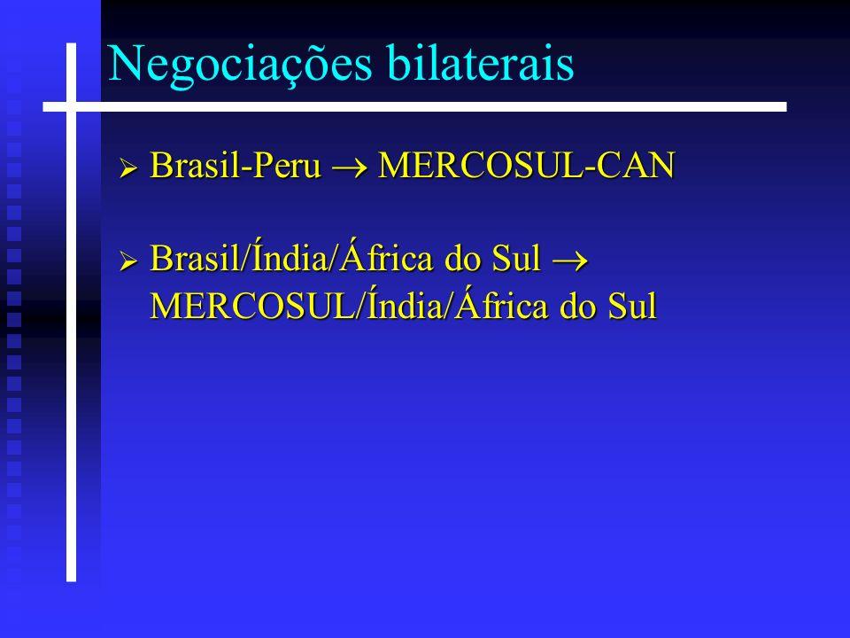 Negociações bilaterais Brasil-Peru MERCOSUL-CAN Brasil-Peru MERCOSUL-CAN Brasil/Índia/África do Sul MERCOSUL/Índia/África do Sul Brasil/Índia/África d