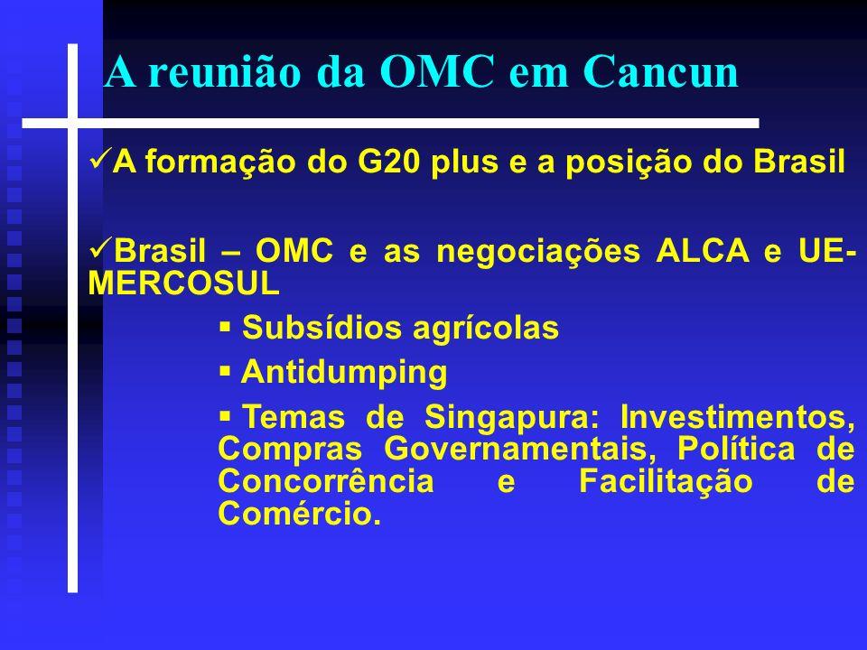 A formação do G20 plus e a posição do Brasil Brasil – OMC e as negociações ALCA e UE- MERCOSUL Subsídios agrícolas Antidumping Temas de Singapura: Inv