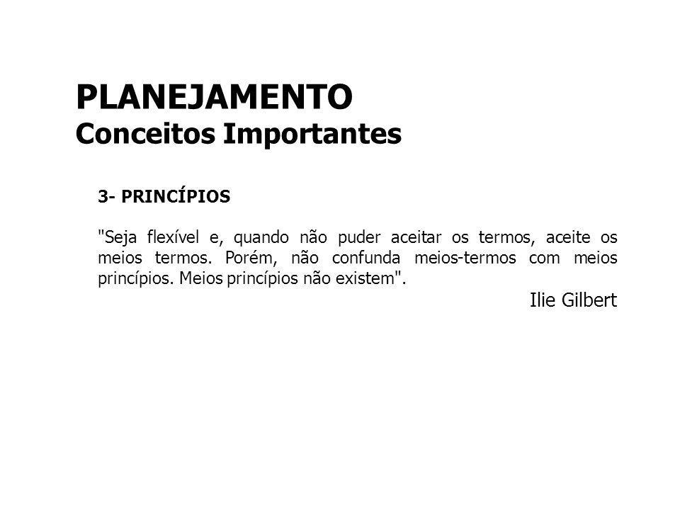 PLANEJAMENTO Conceitos Importantes 3- PRINCÍPIOS