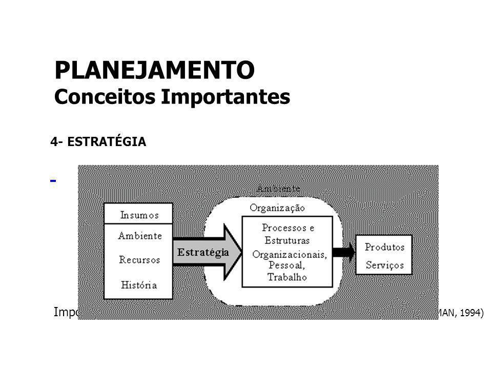 4- ESTRATÉGIA Importância da estratégia para a organização (adaptado de NADLER & TUSHMAN, 1994) PLANEJAMENTO Conceitos Importantes