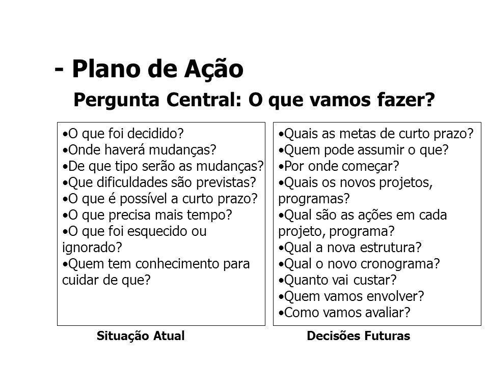- Plano de Ação Pergunta Central: O que vamos fazer? Quais as metas de curto prazo? Quem pode assumir o que? Por onde começar? Quais os novos projetos