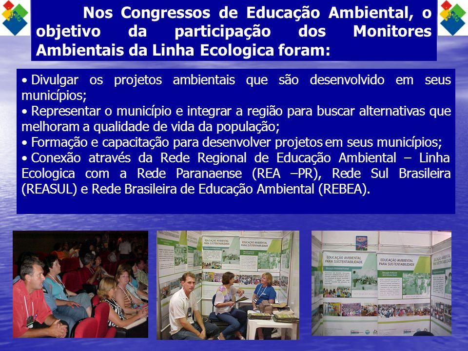 Nos Congressos de Educação Ambiental, o objetivo da participação dos Monitores Ambientais da Linha Ecologica foram: Divulgar os projetos ambientais qu