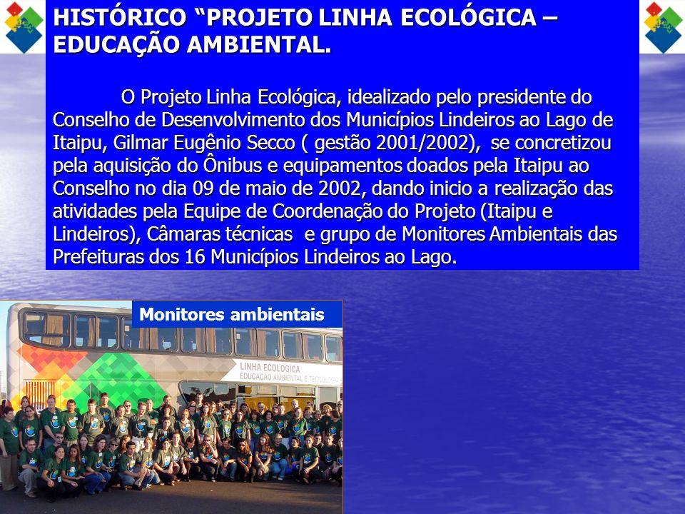HISTÓRICO PROJETO LINHA ECOLÓGICA – EDUCAÇÃO AMBIENTAL. O Projeto Linha Ecológica, idealizado pelo presidente do Conselho de Desenvolvimento dos Munic