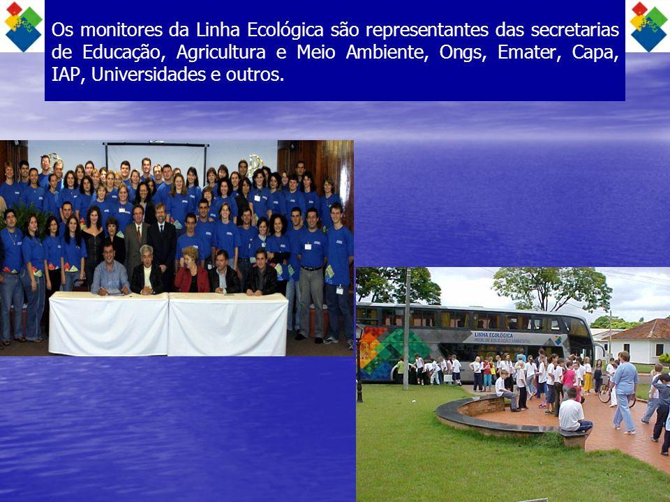 Os monitores da Linha Ecológica são representantes das secretarias de Educação, Agricultura e Meio Ambiente, Ongs, Emater, Capa, IAP, Universidades e