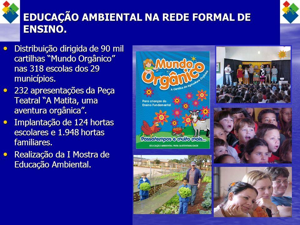 EDUCAÇÃO AMBIENTAL NA REDE FORMAL DE ENSINO. Distribuição dirigida de 90 mil cartilhas Mundo Orgânico nas 318 escolas dos 29 municípios. Distribuição